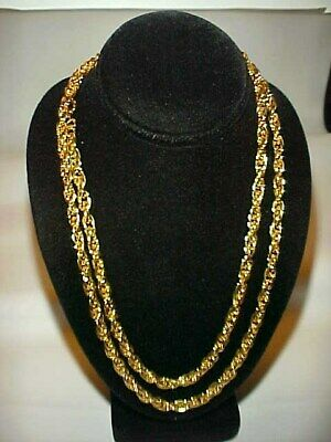 """VINTAGE GOLD PLATED STEEL 5mm. THICK ROPE CHAIN 30"""" NECKLACE   J48"""