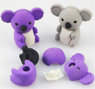 FD3873 Removable Cute Koala Eraser Rubber Pencil Stationery Child Gift Toy 1pc ♫