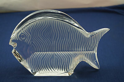 Baccarat Crystal Fish Figurine Sculpture France Art Glass Blowfish Signed