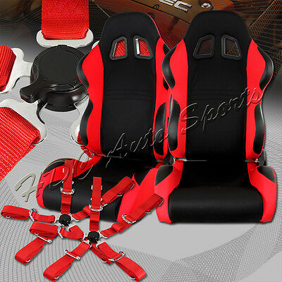 TYPE-7 Black / Red Fully Adjustable Cloth Racing Seats + 5-Point Red Seat Belt