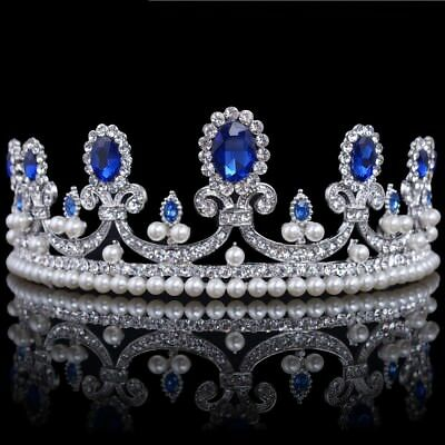 New Blue Crystal Rhinestone Bridal Tiara Princess Pearls Crown Prom Headband USA