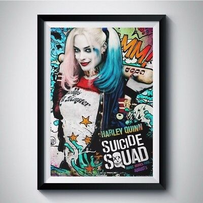 SUICIDE SQUAD Margot Robbie Autograph Reprint Movie Poster A4 A3 5R HARLEY QUINN