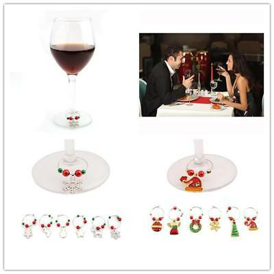 1set Christmas XMAS Glass Ornaments Wine Glass Charms Table Decorations Gift LG