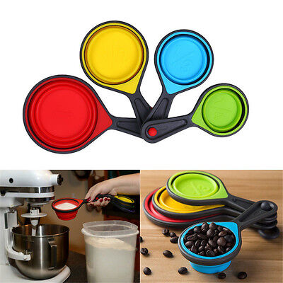 1xSafe Healthy Silicone Measuring Cup Spoon Kitchen Tool Collapsible Baking Cook