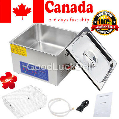 Ultrasonic Cleaner 15 L Liter Stainless Steel Industry Heated Clean Glasses CAN