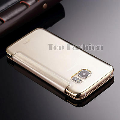 Clear Luxury Ultra-thin Leather Flip Phone Case Cover for Samsung Galaxy Models