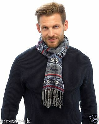 Mens Brushed Fairisle Reindeer Scarf