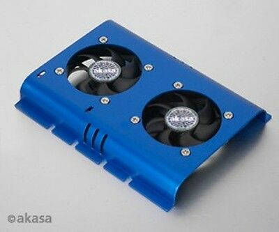 Akasa Hard Drive Cooler Twin Fan Blue