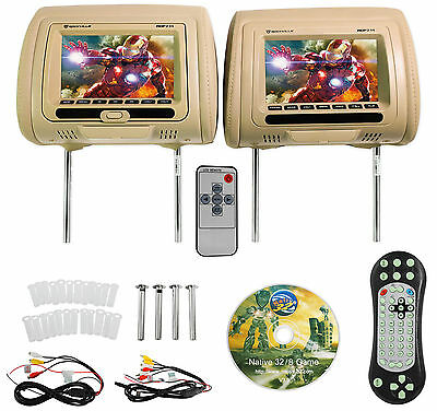 "Rockville RDP711-BG 7"" Beige Car Headrest Monitors w/DVD Player/USB/HDMI+Games"