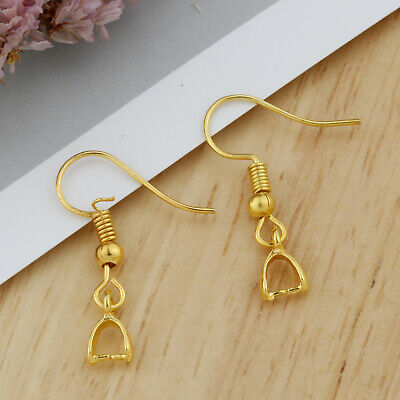 NEW Wholesale 18K GOLD Plated Jewelry Findings French Pinch Bail Ear Hooks Gift