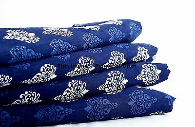 Blue Dress Making Fabric Printed Cotton Fabric Sewing Material By Metre Indian