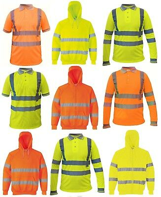 High Visibility Hooded Safety Jacket Hoodie with Hi Viz Reflective Strips Hoody