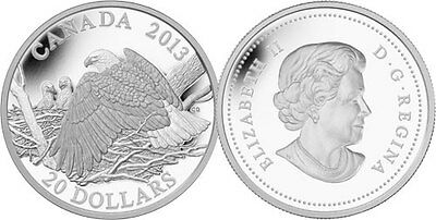 2013 CANADA $20 1 Troy oz .9999% FINE SILVER THE BALD EAGLE PROTECTING EAGLETS