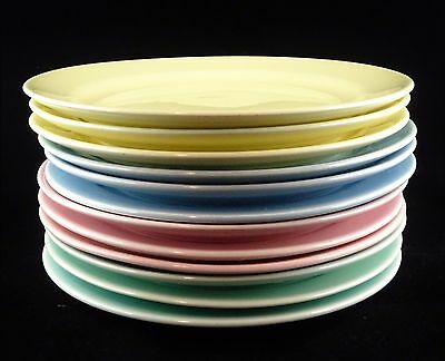 12 Taylor Smith Taylor Lu-Ray Pastels Bread Plates - Yellow, Green, Blue, Pink