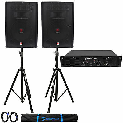 "(2) Rockville RSG15.4 15"" PA Speakers + Rockville RPA8 Amp + Stands+Cables+Case"