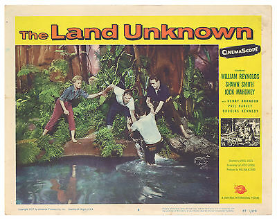 "1957 Universal Sci-Fi ""THE LAND UNKNOWN"" Lobby Card 8 Dinosaur Monsters!!"