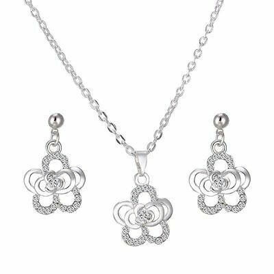Rose flower necklace and earring set silver plated