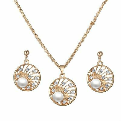 Pearl elegance necklace and earring set gold plated
