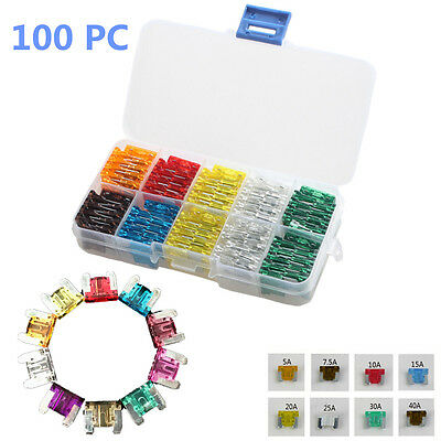 Car Mini Low Profile Fuse Box 5 7.5 10 15 20 25 30 A DIY Sales Assorted 100Pcs