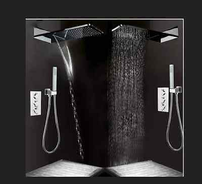 New Rainfall Waterfall Bath Thermostatic Shower Set Chrome Mixer with Hand Spray