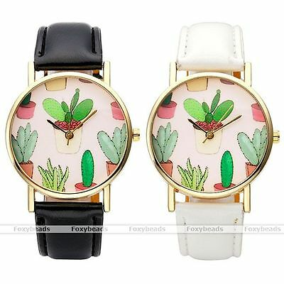 Unisex Lovely Cute Potted Cactus Pattern PU Leather Strap Quartz Wrist Watch EY
