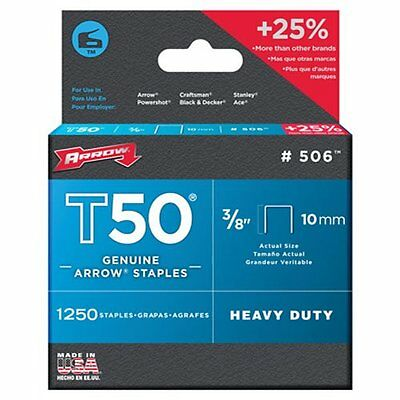 Arrow Fastener 506 Genuine T50 3/8-In Staples,1250-Pack,Steel construction [AOI]