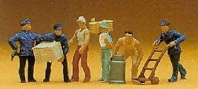 PREISER 14016 1:87 HO SCALE Delivery Men with Trolly & Loads x 6