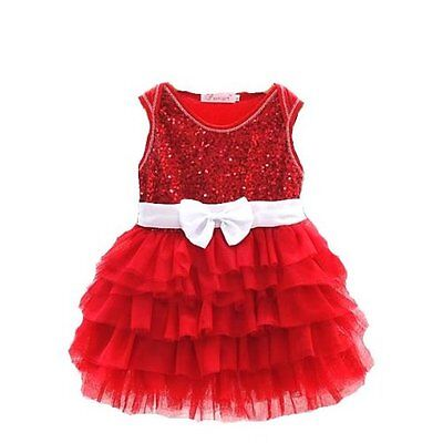 Girls Sequinned Dress Flower Sleeveless Formal Party Wedding Bridesmaid NEW