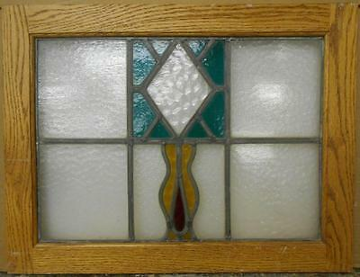 "MID SIZED OLD ENGLISH LEADED STAINED GLASS WINDOW Abstract Floral 22.5"" x 17.25"""