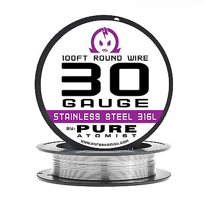 SS 316L - 30 Gauge AWG Stainless Steel 316L Wire 100 ft. Spool - 0.25mm 30g 100'