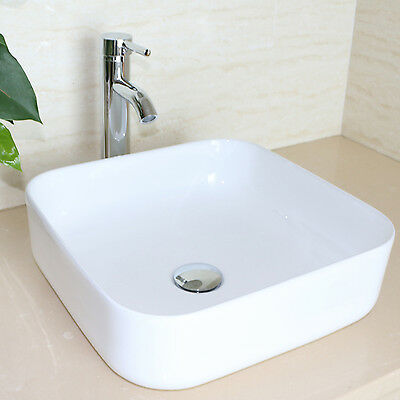 Bathroom Square White Porcelain Ceramic Vessel Sink & Chrome Faucet Combo Set