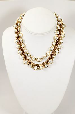 Lovely Vintage Brushed Gold Tone Multi Chain Necklace