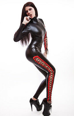 Catsuit Overall Gothic  Lack/Latex look  mit Schnürungen, Lace-up