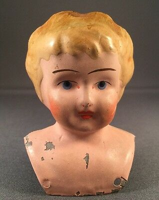 Antique Minerva #0 Tin Doll Head Germany Blonde Hair Blue Eyes
