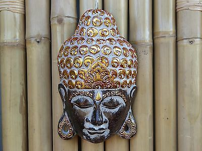 Wooden Hand Carved & Beautifully Decorated Painted Buddha Mask 30cm......