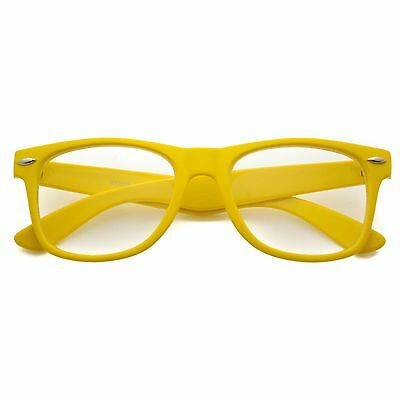 25ecdbbb6b CLASSIC 80s RETRO VINTAGE WAYFARER YELLOW CLEAR LENS SHADES GLASSES EYEWEAR