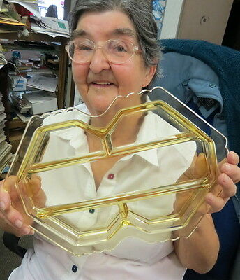 RARE yellow color 5 section relish / serving tray / plate / by FOSTORIA