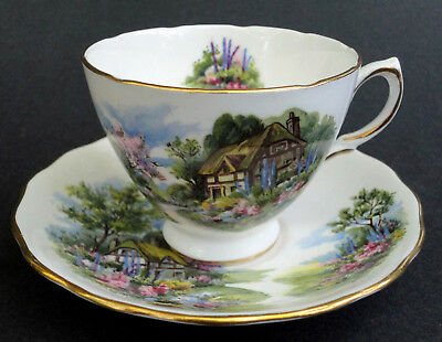 Royal Vale Tea Cup & Saucer Set Thatched Cottage G662 Ridgway Bone China UK Vtg