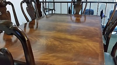 Custom Made Solid Cherry Wood Dining Room Table With Queen Anne Chairs