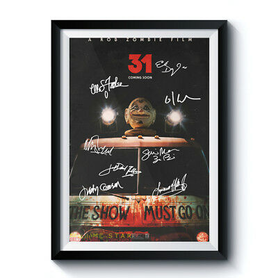31 HORROR Movie Full Casts Autograph Reprint Poster A4 A3 ROB ZOMBIE FANBACKED