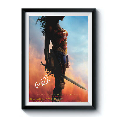 WONDER WOMAN PROFILE Movie Casts Autograph Reprint Poster A4 A3 GAL GADOT HOT