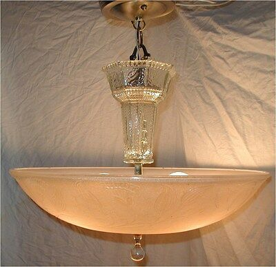 Vtg 30S Art Carnival Glass Shade Peach Lustre Crystal Chandelier Light Fixture