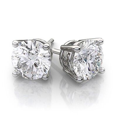 2.00 Ct Round Studs Earrings 14K Solid White Gold Basket Settings Screw-Back