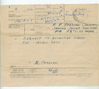 Bhutan telegram and daily message docket forms