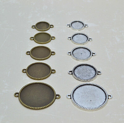 10x Round Bezel Tray Connector, Cabochon Setting Frame, Pendant Tray, Fancy Edge