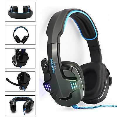 Computer Gaming Headset Headband Headphone USB 3.5mm Wired With LED Mic for PC