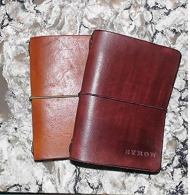 Personalized Traveler's Notebook A6 Leather Journal Diary , book cover.
