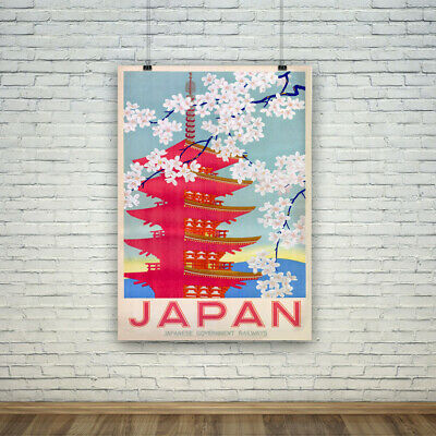 JAPAN TRAVEL POSTER: Vintage Temple Cherry Blossom Advertisement