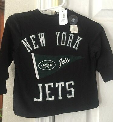 New- New York Jets Size 6-12 Months Black Long Sleeve Football Shirt Nwt