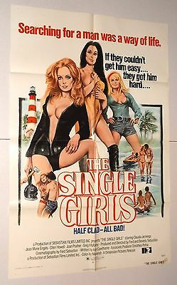THE SINGLE GIRLS 1973 MOVIE POSTER sexploitation CLAUDIA JENNINGS Bloody Friday